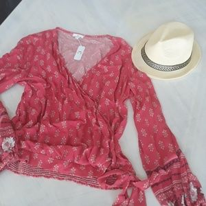 Charming Charlie floral boho side tie top NWT XL
